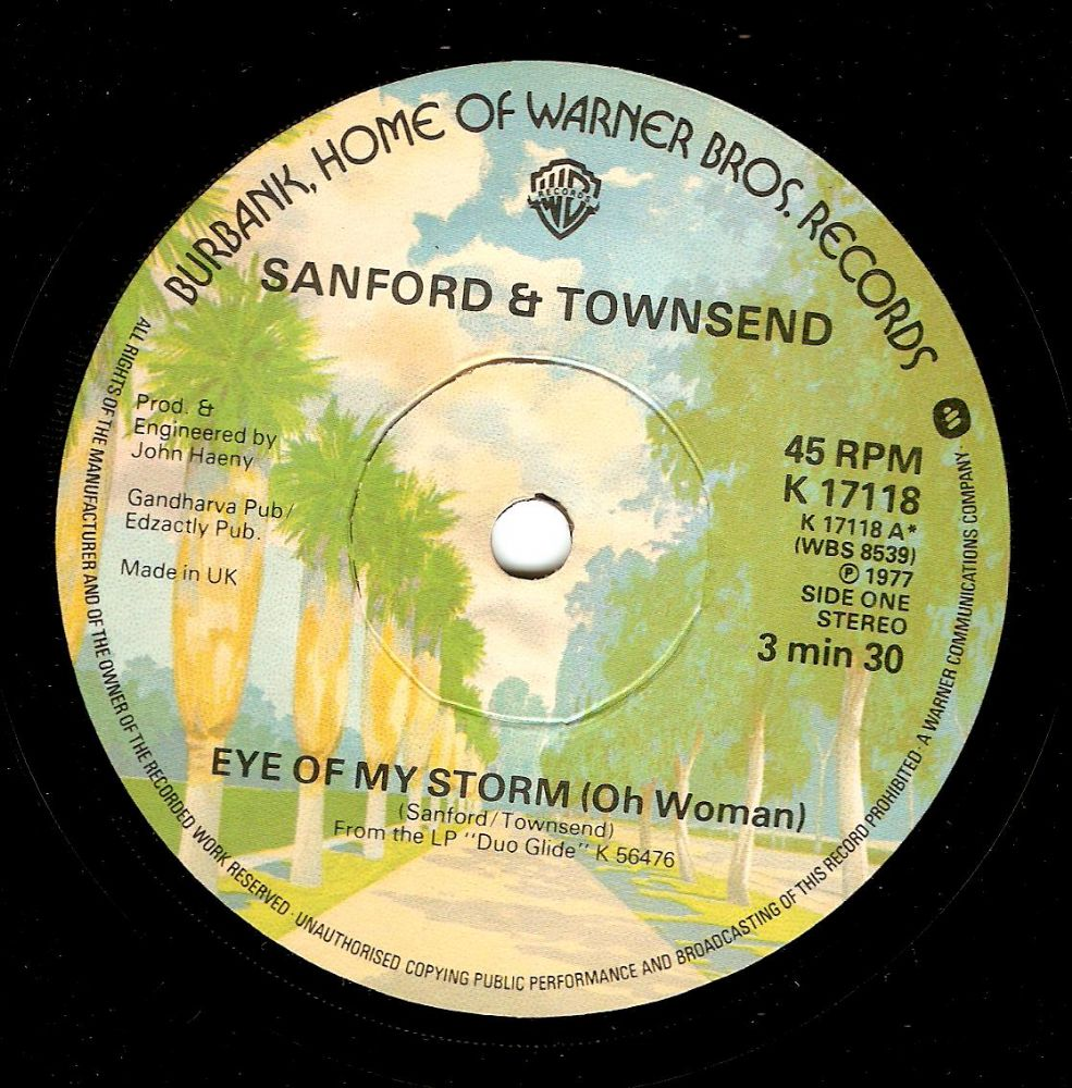 SANFORD AND TOWNSEND Eye Of My Storm Vinyl Record 7 Inch Warner Bros. 1977